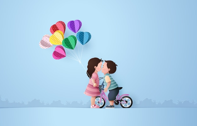 Babygirl and babyboy kissing