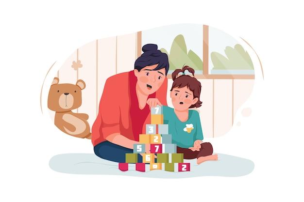 집에서 장난감 큐브를 가지고 노는 베이비 시터 및 아기 소녀