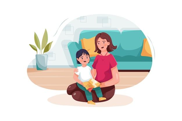 아이에게 동화를 읽는 어린 소녀를 포용하는 베이비 시터.