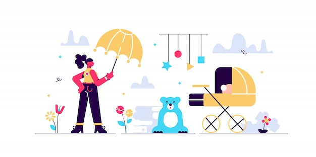 Иллюстрация няни. крошечные дети питомник лиц концепции. уход за новорожденным малышом и занятие няней. педагогическая профессия: работа с детскими игрушками, коляска и наблюдение за безопасностью ребенка.