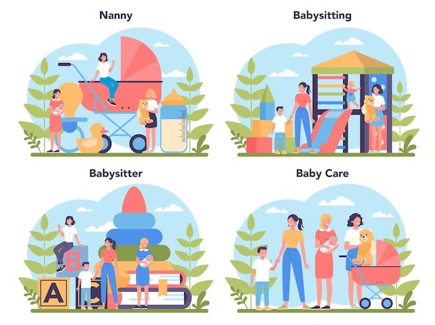 Услуги няни или набор концепции агентства няни. няня на дому. женщина заботится о ребенке, играя с ребенком.