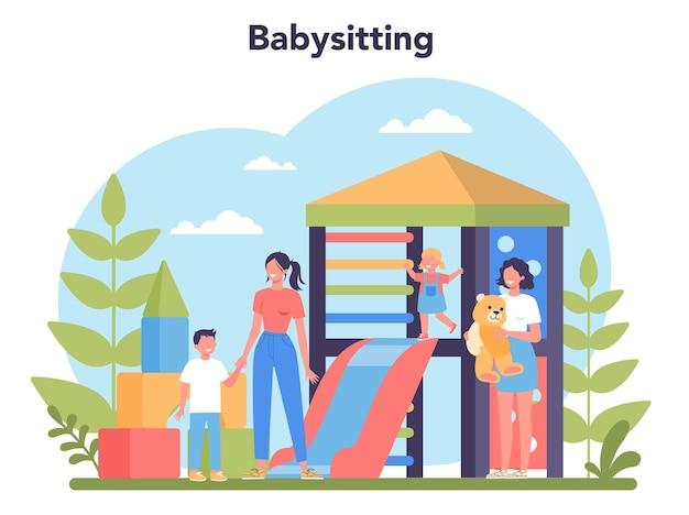 ベビーシッターサービスまたは乳母代理店のコンセプト。
