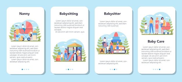 ベビーシッターサービスまたは乳母代理店のモバイルアプリケーションバナーセット。家庭内ベビーシッター。赤ちゃんの世話をし、子供と遊ぶ女性。孤立したベクトル図