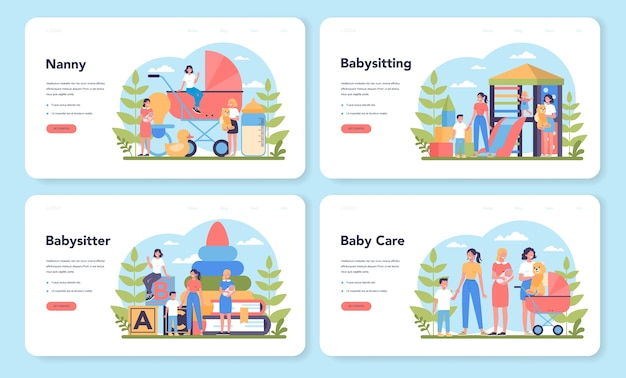 ベビーシッターサービスまたは乳母代理店のwebランディングページセット。家庭内ベビーシッター。赤ちゃんの世話をし、子供と遊ぶ女性。孤立したベクトル図
