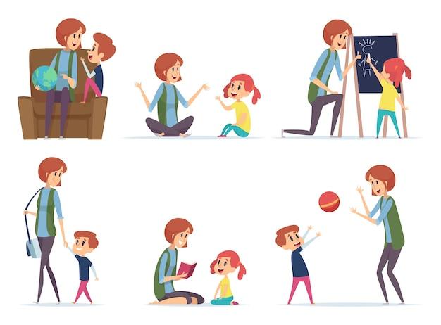 Няни. няня играет с детьми дошкольного возраста, занятые родители, мама, векторные герои мультфильмов. няня или няня с детьми мальчик и девочка иллюстрации