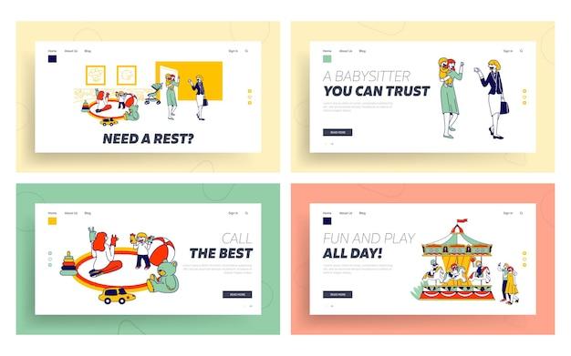 Babysitting work with infant babies, amusement park website landing page set.