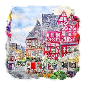 Bacharach germany watercolor sketch hand drawn illustration