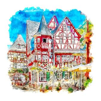 Bacharach 독일 수채화 스케치