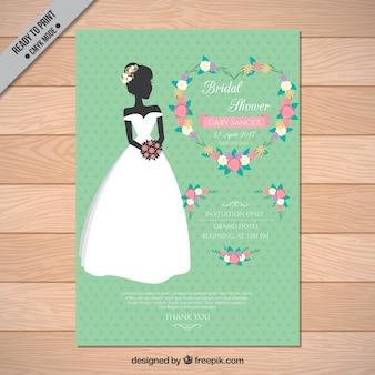 Bachelorette invitation with bride and pretty flowers