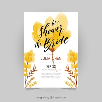Bachelorette invitation with flowers in brown and yellow tones