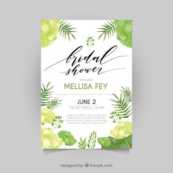 Bachelorette invitation with vegetation in green tones