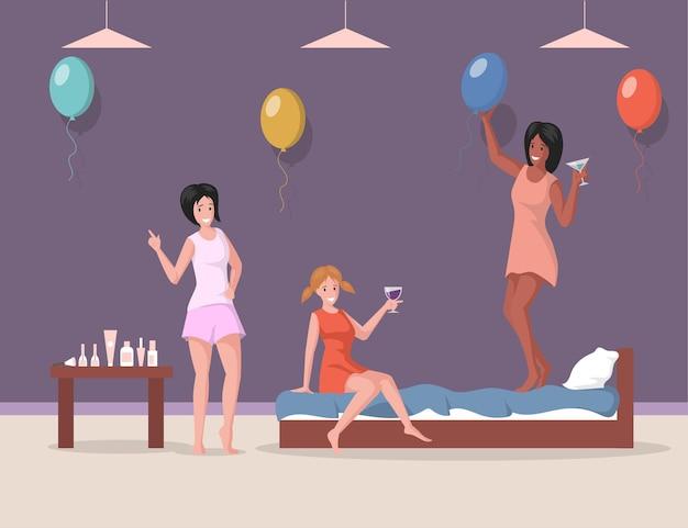 寝間着で独身パーティーフラットイラスト女性と