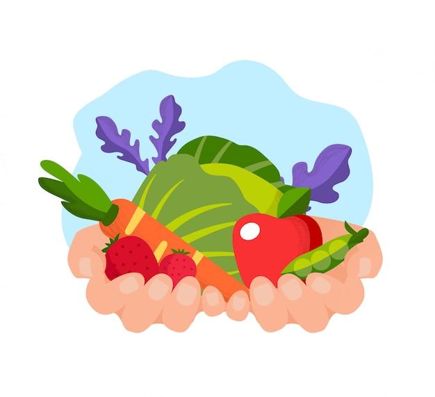Овощи и фрукты в руках на белом bachground