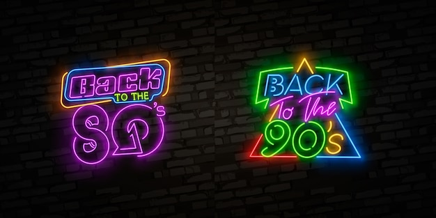 Back to 80's neon sign, emblem.