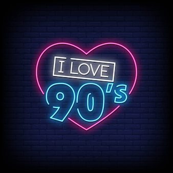Back to the 90's neon signs style text
