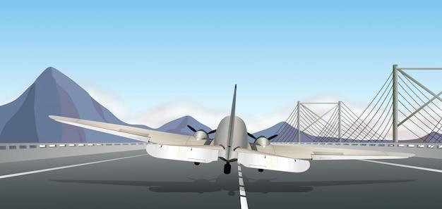 Back of airplane landing on runway