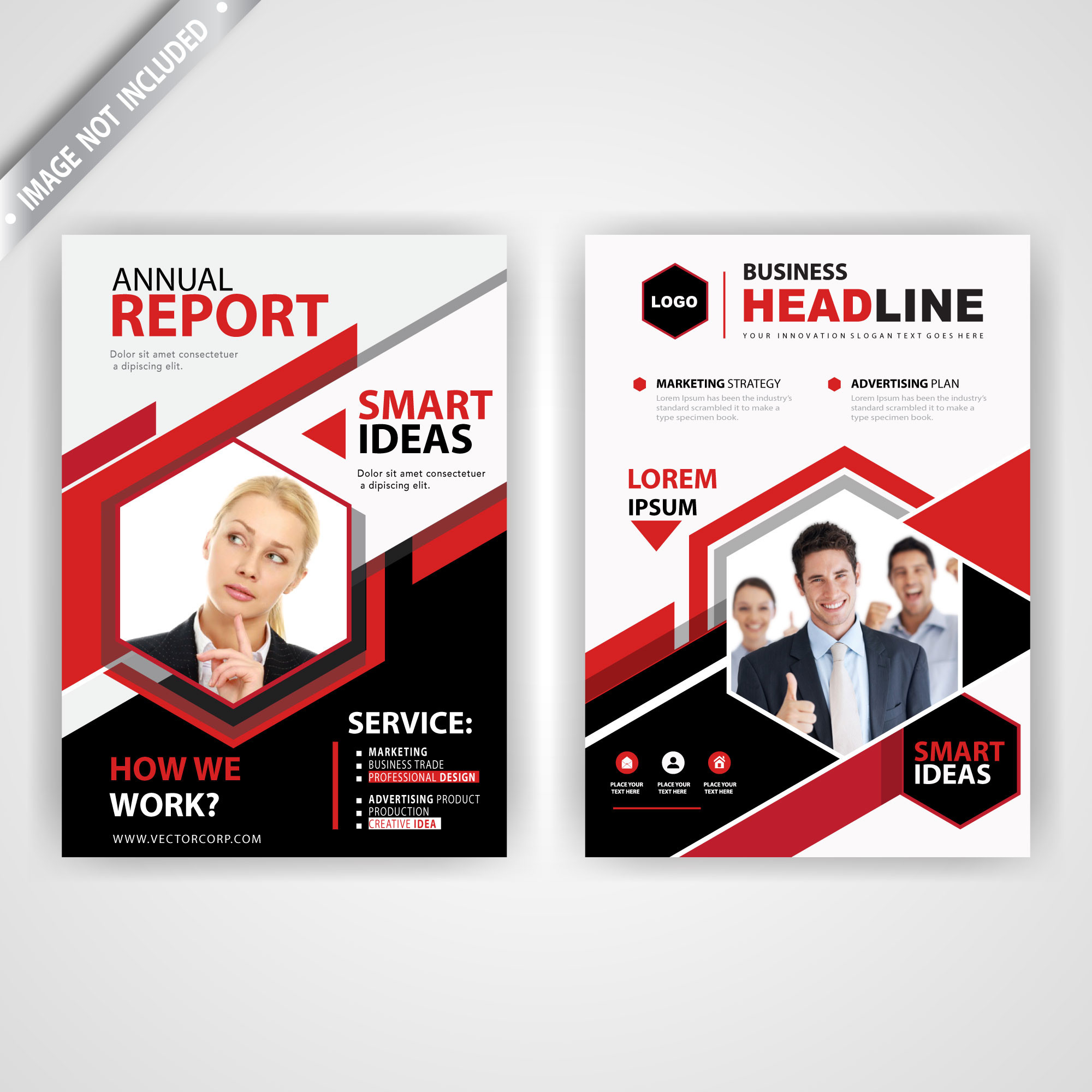 Back and font red polygonal flyer