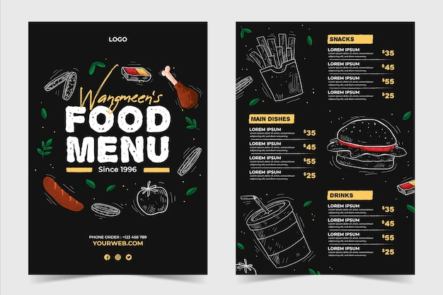 Шаблон меню ресторана в задней и передней части ресторана