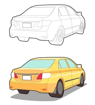 Back car cartoon coloring page for kids