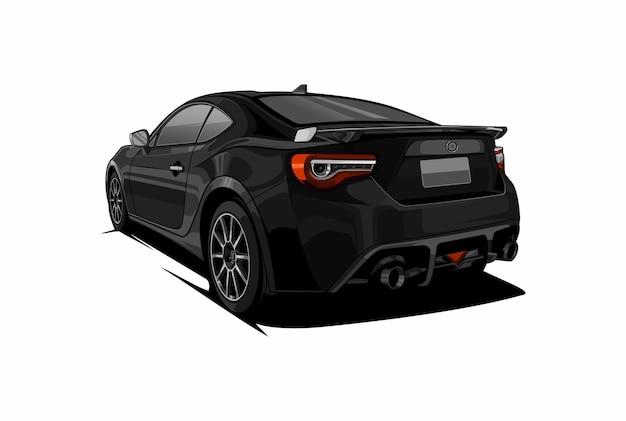 Вид сзади автомобиля черный цвет