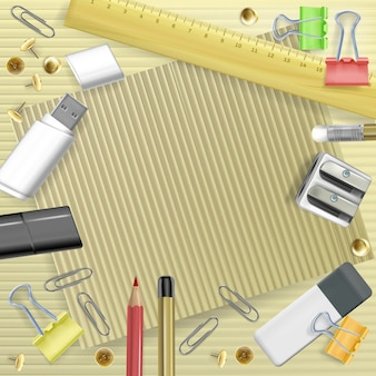 Back to college illustration of stationery for greeting card. template of school education