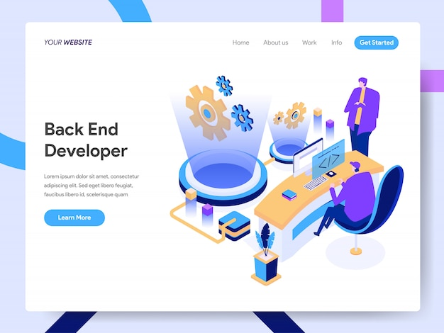 Back end developer isometric illustration for website page