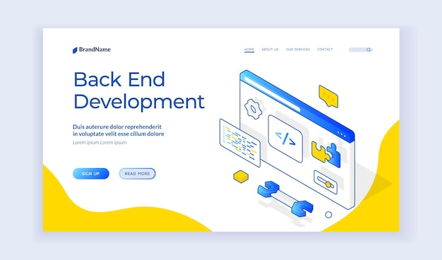 Back end development. design of vector banner of contemporary programming web resource offering help with back end interface development. isometric web banner, landing page template