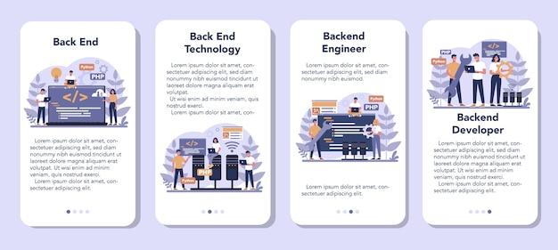 Набор баннеров для мобильных приложений back-end разработки