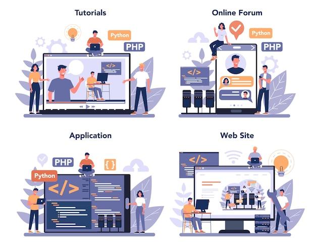 Back end development online service or platform set