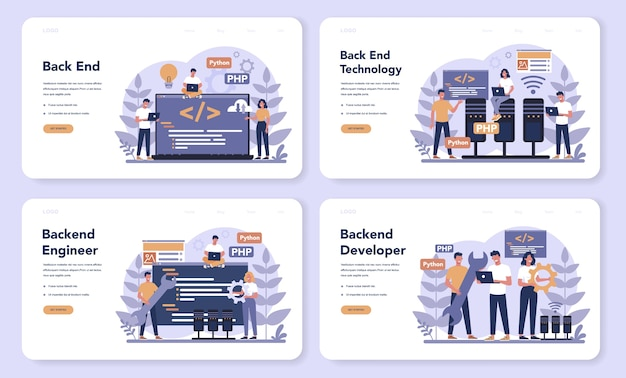 Back end development web landing page set. software development process. website interface design improvement. programming and coding. it profession. isolated flat vector illustration