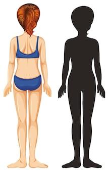 Retro di femmina umana su sfondo bianco