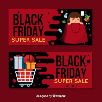 Back friday sales banner collection with happy people shopping