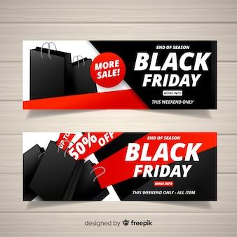 Raccolta di banner di vendita venerdì con borse della spesa