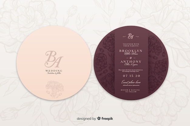 Back and front of a wedding invitation