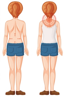 Back of human female with pain spots