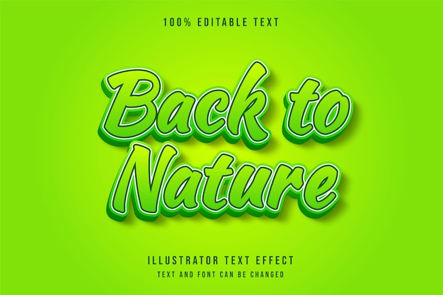Back to nature,3d editable text effect yellow gradation green text style