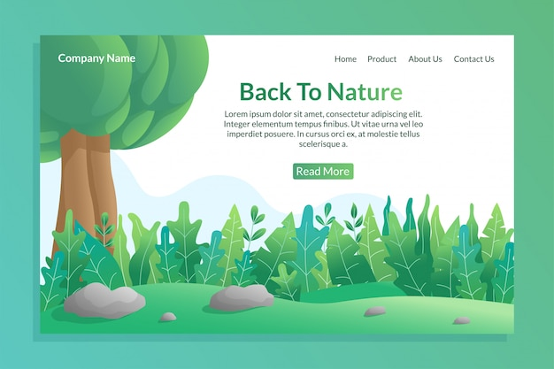 Back to nature concept for landing page template with colorful nature illustration