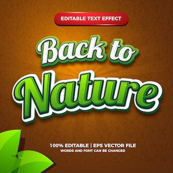 Back to nature editable text effect for logo design template