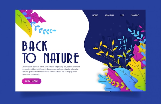 Back to nature landing website template colorful