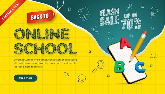 Back to online school background. flash sale up to 70 percentage off. design with icon chalk style and 3d illustration.