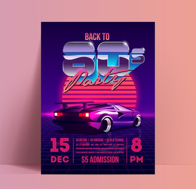 Back to party poster or flyer  template with retro vaporwave or synthwave aesthetic illustration of the vintage supercar at sunset on purple background.