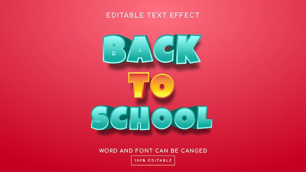 Back to school 3d editable text effect template