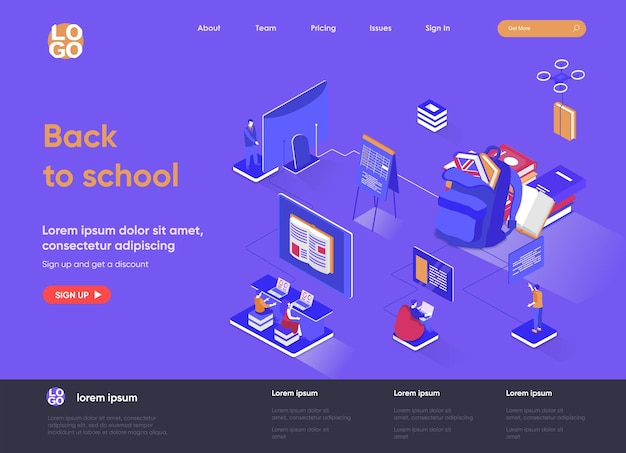 Back to school 3d isometric landing page illustration with people characters