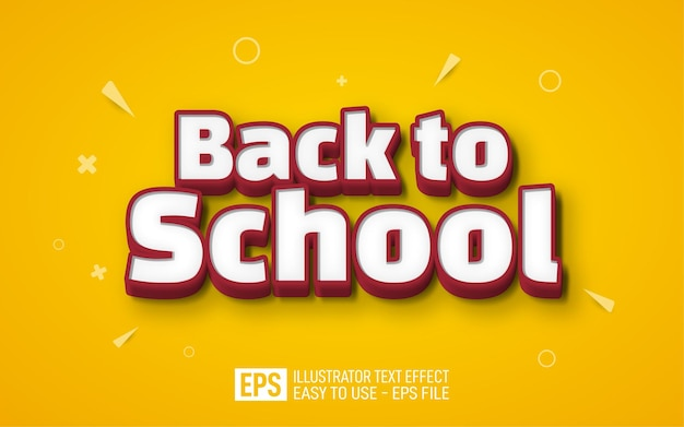 Back to school 3d text editable style effect template