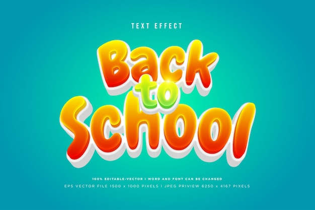 Back to school 3d text effect on green background