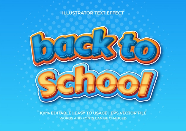 Back to school 3d text effect with gradations of orange and blue