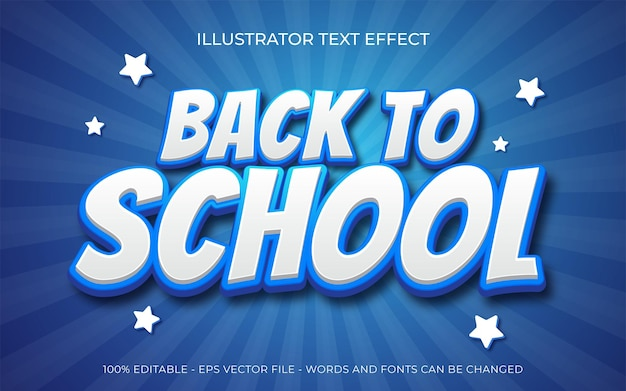 Back to school 3d text style effect