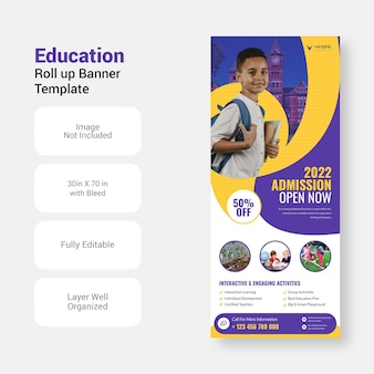 Back to school admission education study xbanner design roll up banner template