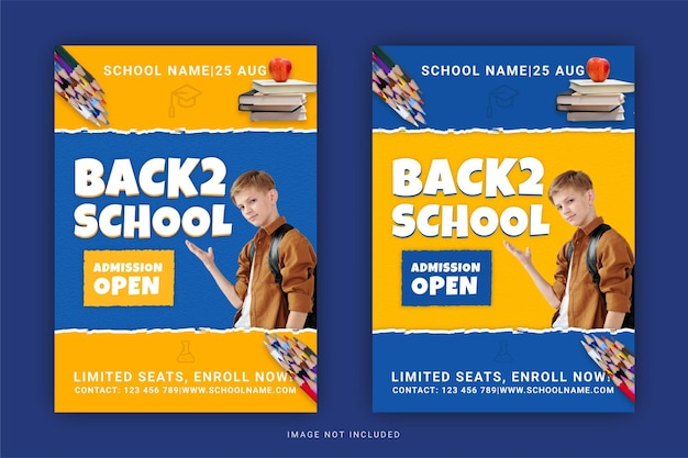 Back to school admission open flyer template