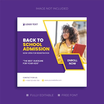Back to school admission social media and education web banner templates